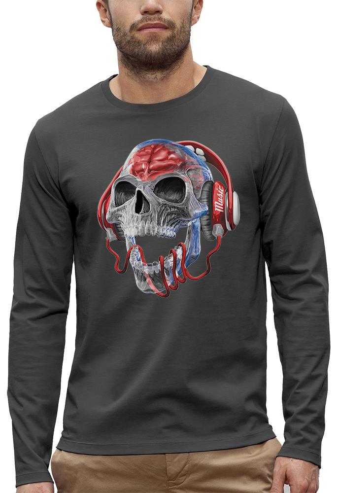 t-shirt manches longues tete de mort transparente
