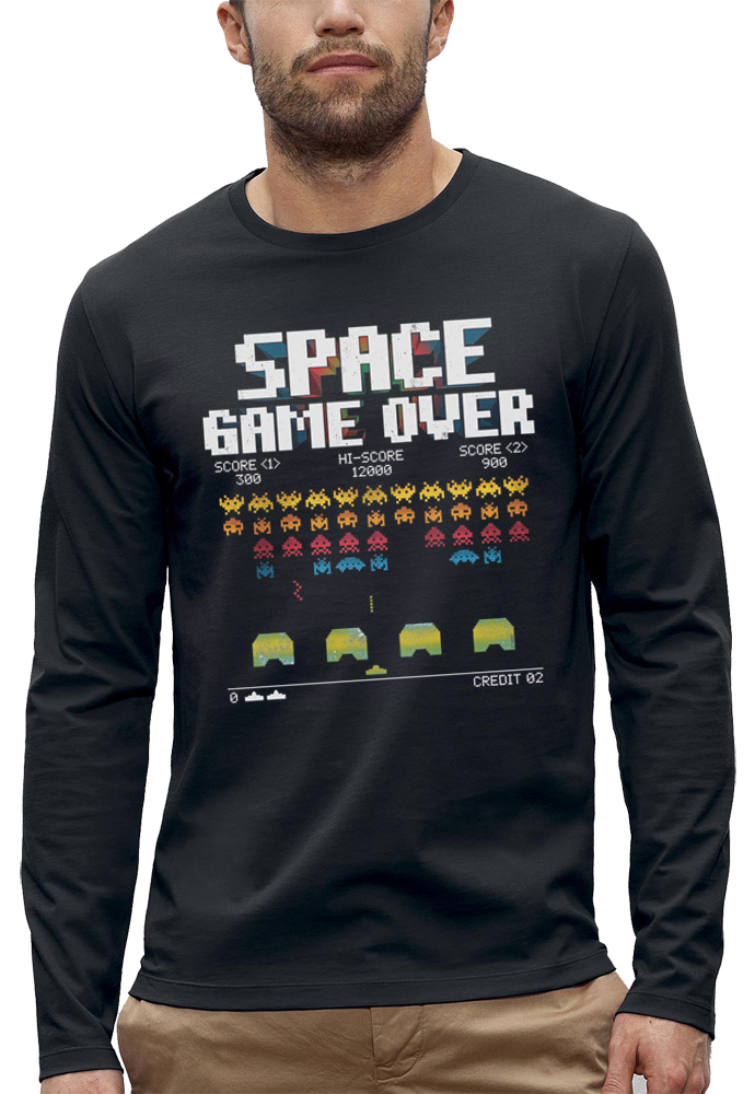 t-shirt manches longues space game over