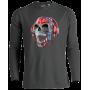 T-shirt manches longues 3D TETE DE MORT CASQUE DJ TRANSPARENTE