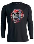 T-shirt manches longues TETE DE MORT CASQUE DJ TRANSPARENTE