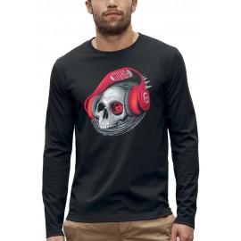 T-shirt manches longues TETE DE MORT CASQUE DJ ROUGE
