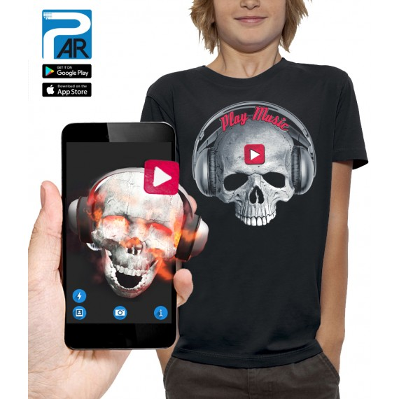 T-shirt 3D TÊTE DE MORT PLAY MUSIC