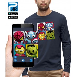 T-shirt ML 3D 4 SUPER HEROS