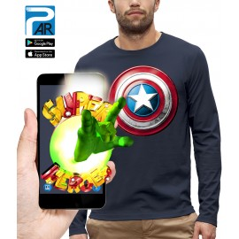 T-shirt ML 3D BOUCLIER CAPTAIN AMERICA
