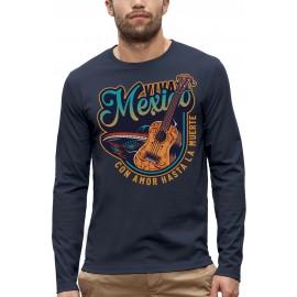 T-shirt ML VIVA MEXICO GUITARE ET SOMBRERO