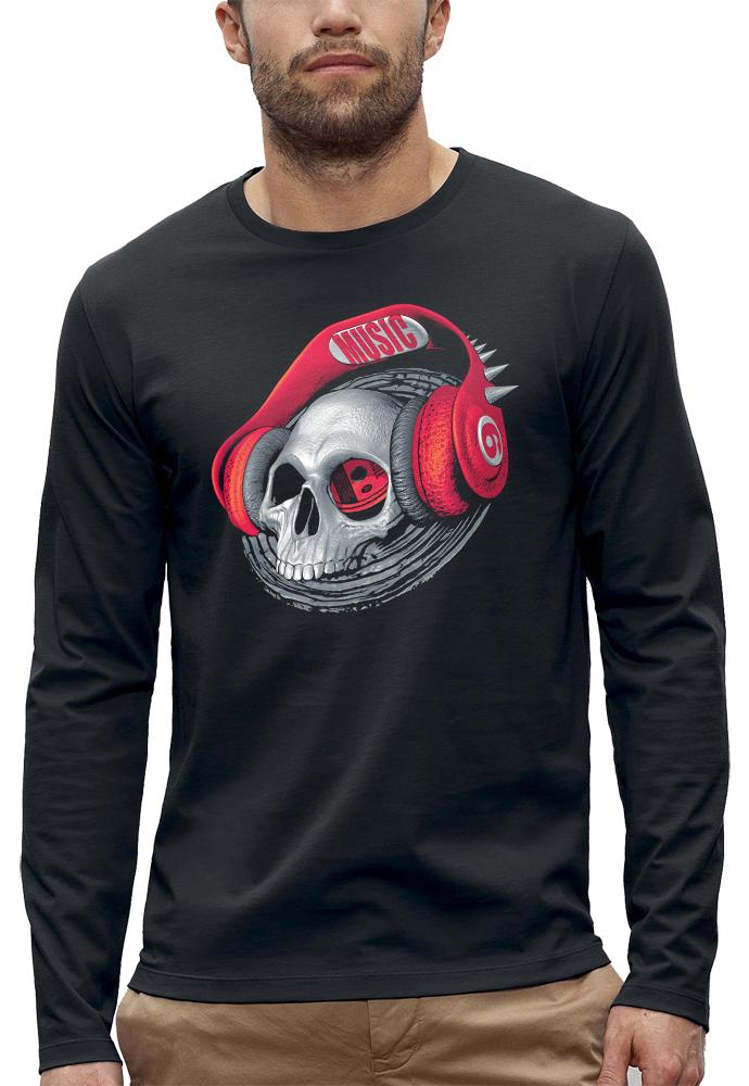 t-shirt manches longues 3D tete de mort casque dj beats